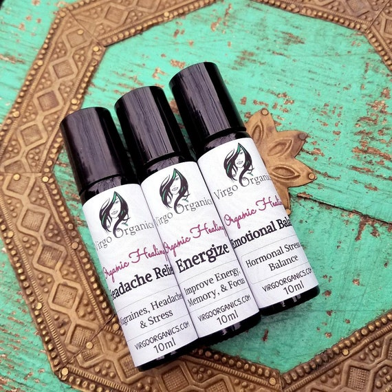 Organic Essential Oils - Roll-On  / 6 Therapeutic Blends / Anxiety, Sleep, Headaches, Colds, Balance & More!
