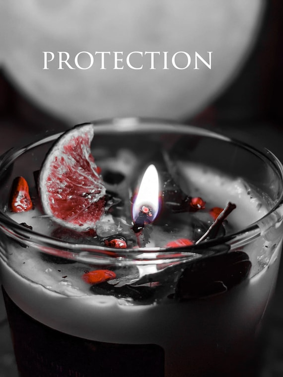 Protection Spell Candle / Soy Wax / Negative Energy Sheild / Charged Crystals / Reiki / Spiritual / Wiccan /Hoodoo / Ritual Intention Candle