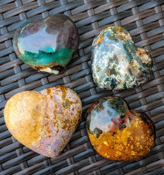 Large Ocean Jasper Heart  / YOU PICK! / High Quality! / Polished Stone / Crystal Healing / Chakra Stone / Meditation / Calming Energy