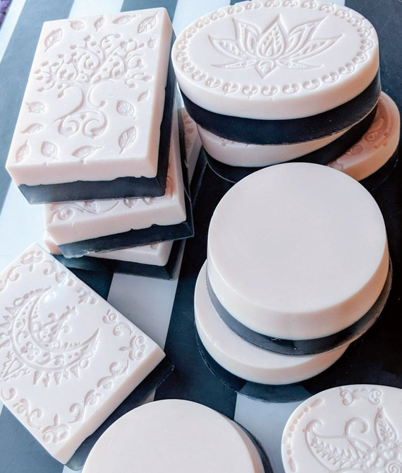 Organic Rose Clay Facial Bar~ with Activated Charcoal / Anti-aging Beauty Bar / Purifies / Gluten Free / Vegan / Organic Essential Oils