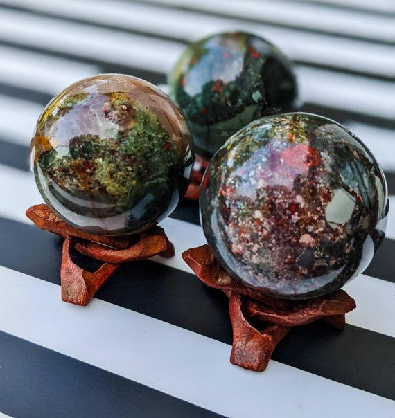 Natural African Bloodstone Sphere and Stand / High Quality! / Crystal Sphere / Root Chakra Stone / Healing Crystal Energy / Amazing Color!