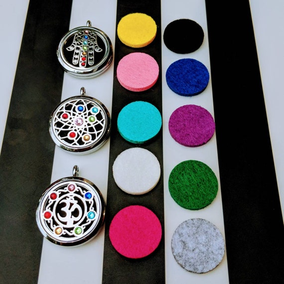 Stainless Steel Essential Oil Chakra Locket with Genuine Crystals, Set Comes w/ a Sterling Silver Chain, & 10 Different Colorful Felt Pads