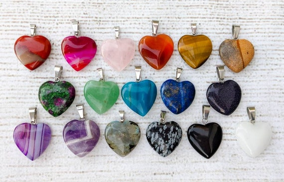 """Healing Crystal Heart Necklace / Many Different Natural Stone Choices / 18"""" Sterling Silver Chain, or Adjustable Black Cording Available!"""