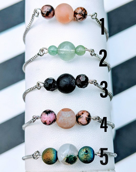 On SALE! Beautiful Lariat Bracelets / Real Crystals & Stones / Adjustable - Fits All Wrist Sizes. Stunning/ Classy / One of a Kind