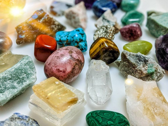 Mystery Grab Bag of Stones / Crystals  / For Reiki, Chakra, Decor, Wire Wrapping, Crystal Healing / Raw, Tumbled, Points, Clusters, & Shapes