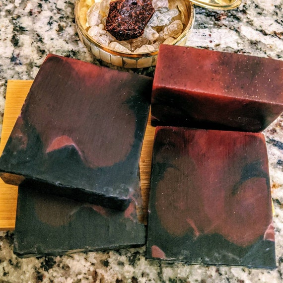 Dragon's Blood Soap Infused with Amber, Activated Charcoal, Hemp Seed Oil, Aloe Vera, & Shungite / Gluten Free / Vegan / Soy Free / Natural