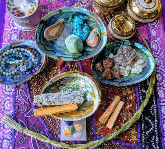 Sacred Smudging Sets / Large Abalone + Stand / Cleansing / Relieve Stress and Anxiety / Optional Crystals, Soy Tea Light Candles & More!