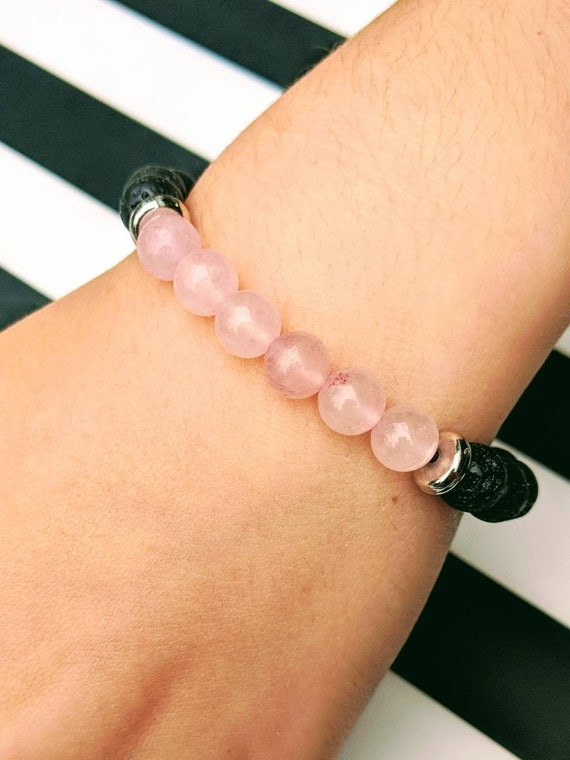 Rose Quartz & Lava Stone Bracelet / Heart Chakra / Healing Crystals /Self Love / Romance / Compassion / Essential Oil Bracelet