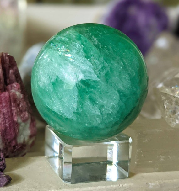 Natural Green Fluorite  / Crystal Ball + Stand / AAA High Quality Sphere w/ Snowflakes & Rainbows / Crystal Healing / Heart Chakra Stone