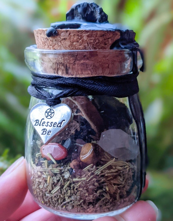 Protection Spell / Witch Jar / Herbal Blessing / Crystal Blessing / Wiccan / Pagan / Spiritual / Witch Ball /