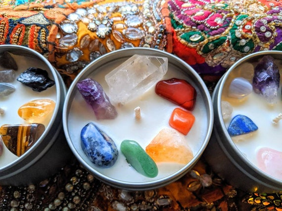 Large Soy Crystal Infused Chakra Candles ~ Choose Your Crystals + Scent  / Keepsake Stones / OM Charm ~ Creativity & Healing Begins Here!
