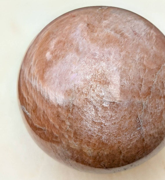 Large Peach Moonstone Sphere w/ Stunning Golden Flash / Comes With a Stand / High Quality! / Crystal Ball / Healing Crystal Energy / RARE!