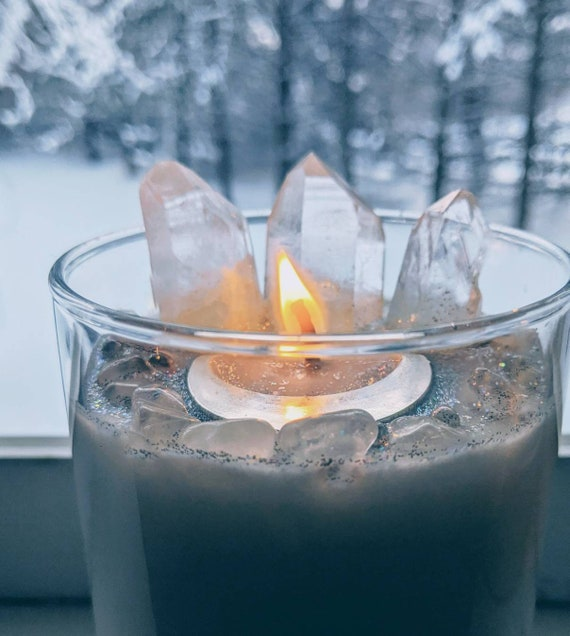 Moon Magick ~ Soy Crystal Infused Candle (12 oz) ~ Meditation Candle / Moon Magick Ritual Candle / Spiritual / Wiccan / Hoodoo / Pure Light