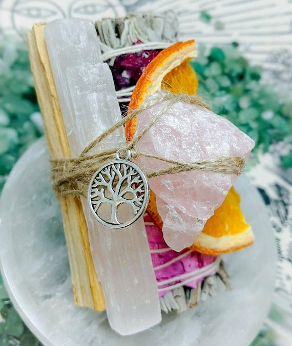 White Sage & Rose Bundles / Organic / Love Energy / Self Love / Cleanse / Purify / Palo Santo, Selenite, Raw Rose Quartz Crystal, and More!