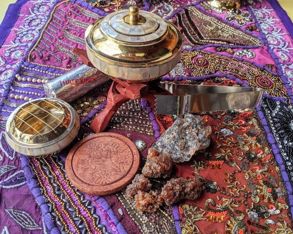 Tibetan Charcoal Burner Kit / Solid Brass & Mother of Pearl ~ Perfect for Lose Herbs Burning Resins, Incense, and More / Hojari Frankincense