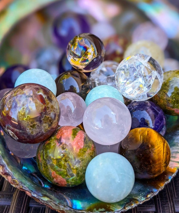 Mini Sphere / High Quality with Rainbows & Flash! / Crystal Ball / Healing Energy / Chakra Stone / Meditation Stone / Pick Your Favorite!
