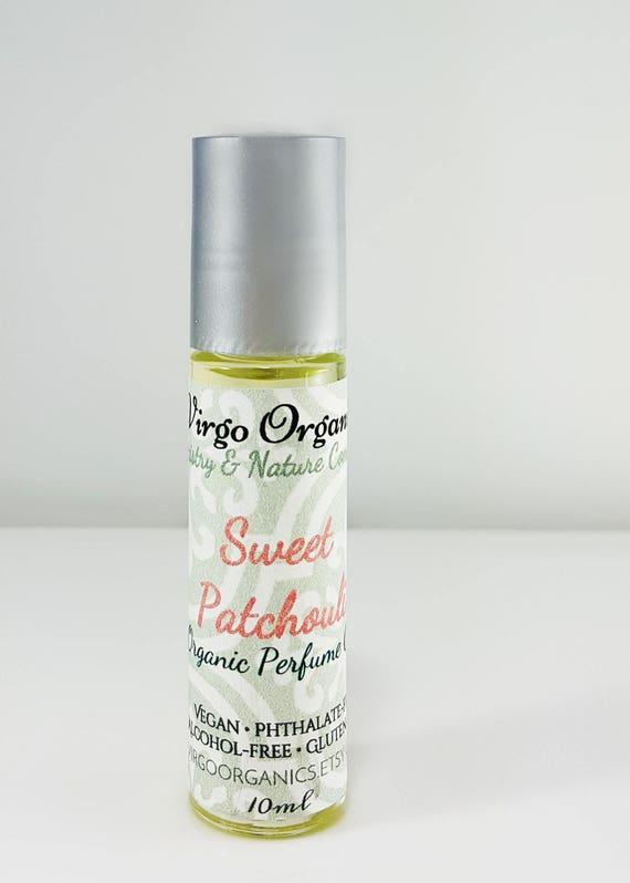 Organic Perfume oil / Sweet Patchouli OR Patchouli & Vanilla / Alcohol Free / Vegan / Gluten Free / Phthalate Free / Organic Oils