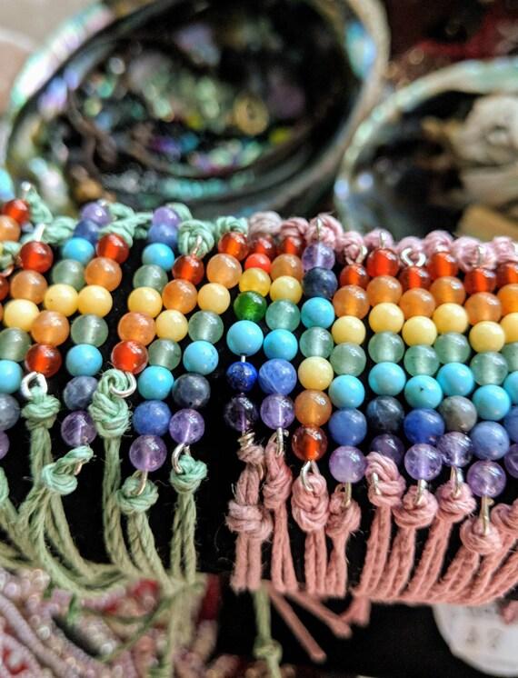 On SALE! Hemp Chakra Bracelets ~ Real Crystals/Stones & Adjustable. So cute!!