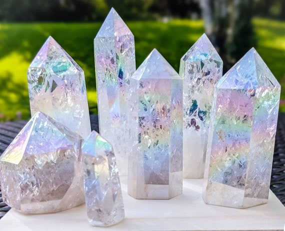 Angel Aura Crackle Quartz Tower Point / High Quality / Rainbow / Clear Quartz Tower / Crystal Wand / Chakra Stone / White Light Energy
