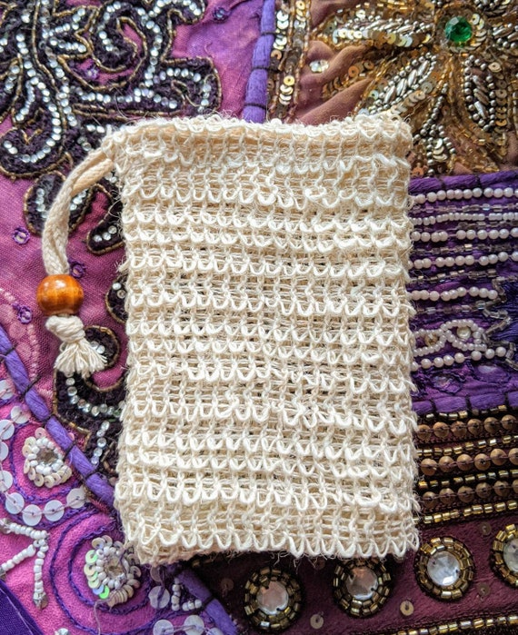 "NEW! Natural Sisal Soap Pouch / 100% Biodegradable / Soap Saver / 5"" x 3.5"" / Great Natural Exfoliation! / Hangs to Dry & Easy to Reuse."