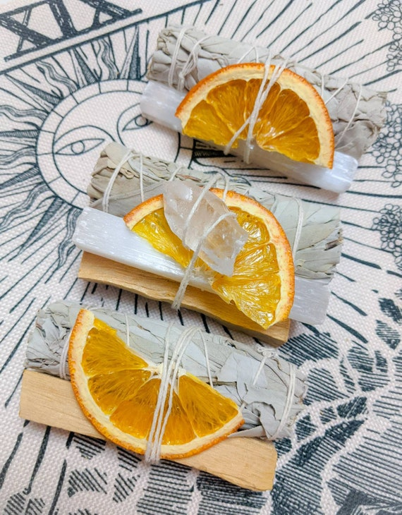 Organic White Sage Bundles / Removes Negativity Energy / Palo Santo, Selenite, Quartz/ For Meditation, & Rituals / Cleansing / Calms Anxiety