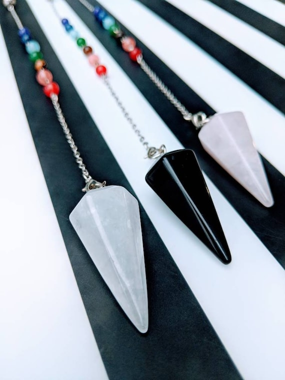 On SALE! Charka Crystal Pendulums with Special Silver Charm Options Available