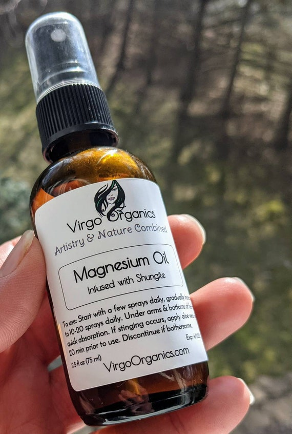 Magnesium Oil Spray ~ Infused with Russian Shungite / Two Very Powerful Healing Minerals Combined For The Best Results! / Multiple Sizes