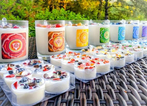 Soy Chakra Candles Infused w/ Organic White Sage & Real Stones / Crystal Healing / Meditation Candle / Chakra Balance / Tealight set or 12oz
