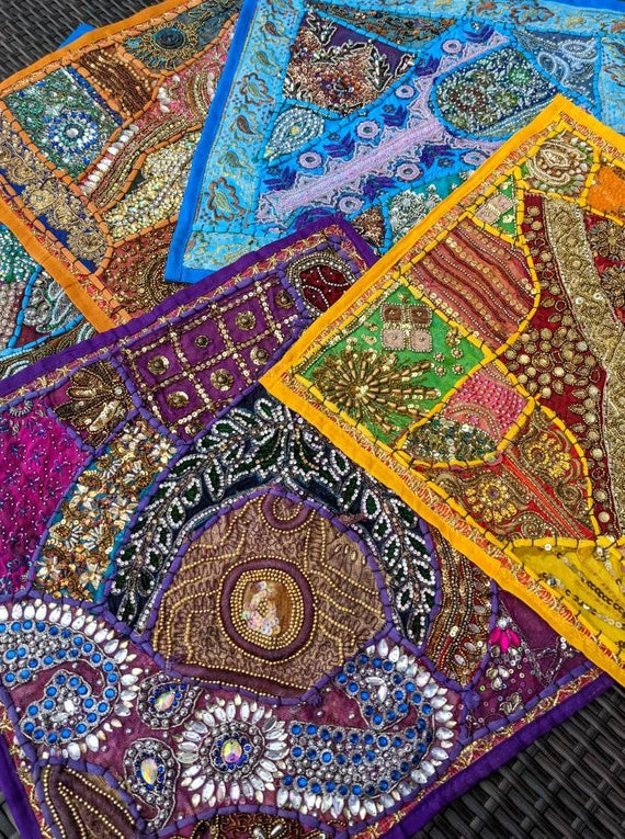 Beaded Sari Tapestry / Wall Decor / Table Decor / Alter Decor / One of a Kind / Bohemian Decor / Stunning Patchwork & Colors!