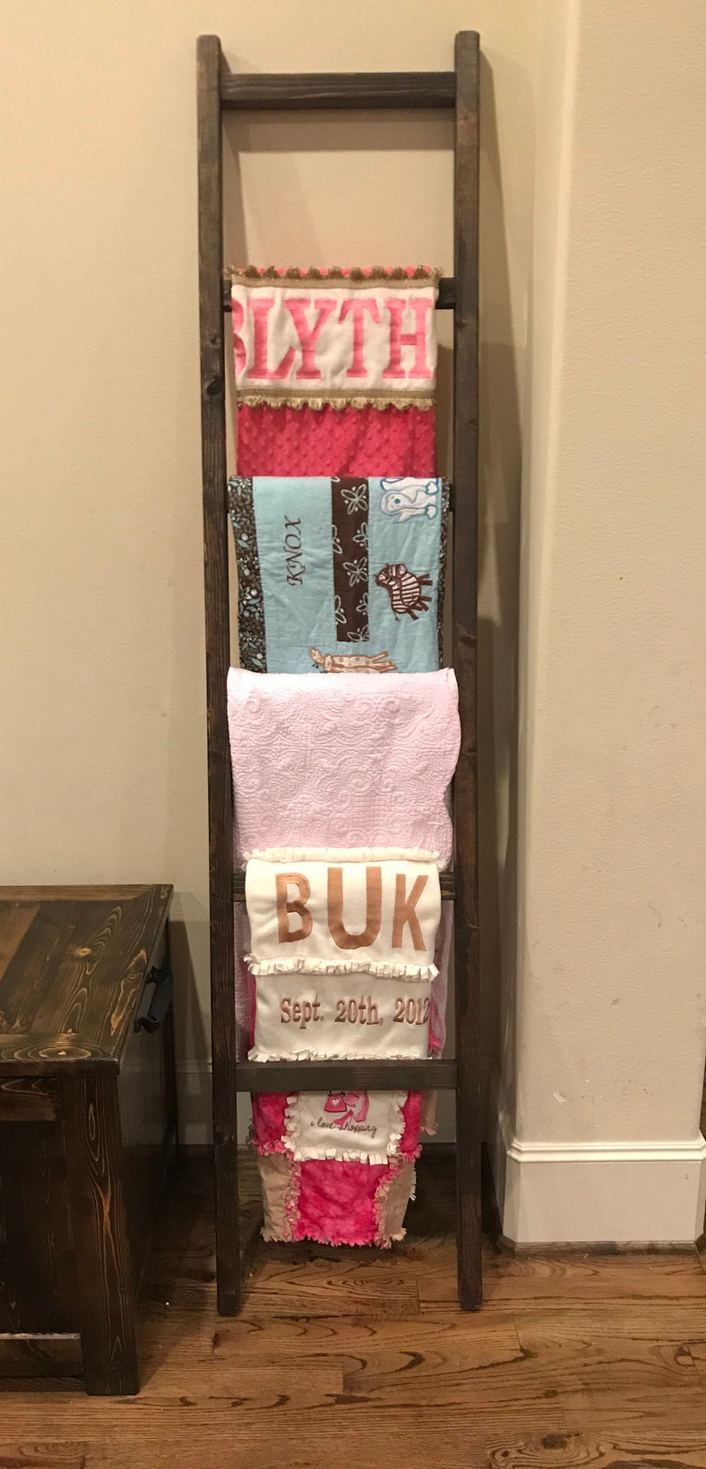 Rustic Reclaimed Weathered Hand Made Wood Towel Ladder Blanket Quilt Shabby Chic