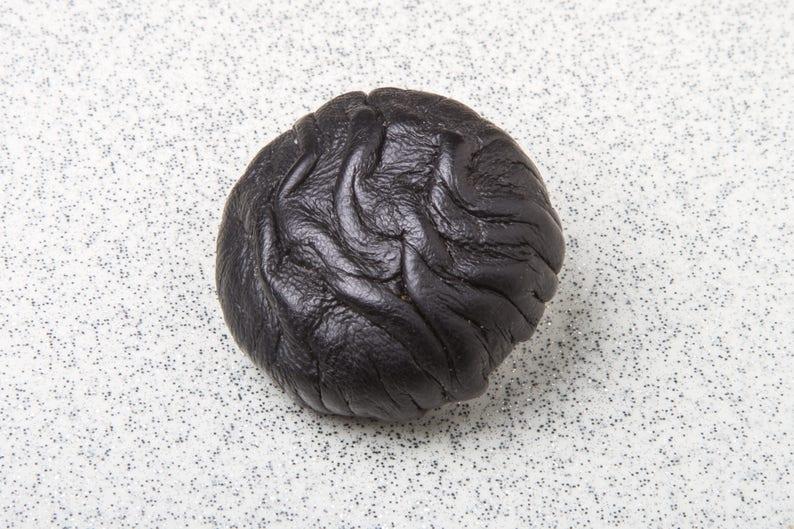 Medium Large 30mm Rare 70s Vintage Paris Black Leather Vintage Button \u2013 SET of 4 \u2013 Handmade Haute Couture Sewing