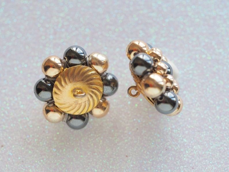 1 316 Shank Fitted Handmade Vintage Original Buttons Plastic Gold and Hematite Beads Woven on Metal Gold Base SET of 2 Buttons 30mm