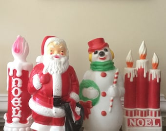 Christmas Blow Mold vintage blow mold christmas wreath light up outdoor decor Vintage Christmasblow Mold Santasnowmancandles