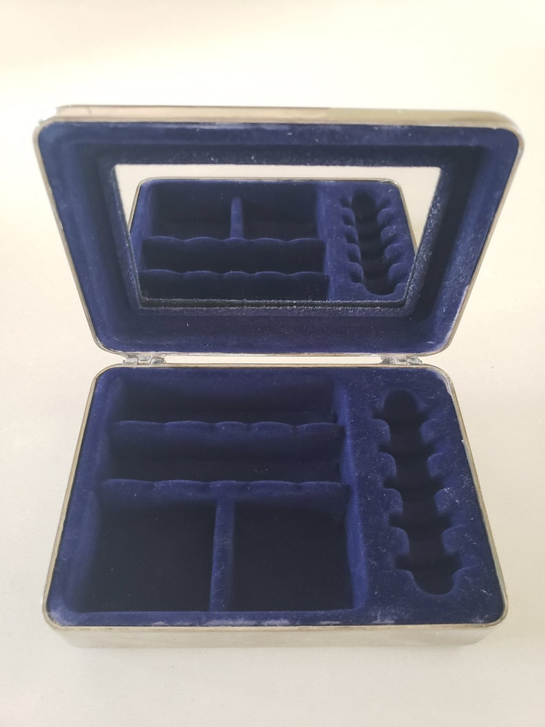 Vintage Silver Tone Jewelry Box