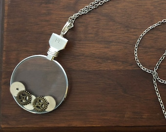 Antique Silver Optic Lens Necklace with Watch Parts and Gears, Steampunk Necklace, Antique Necklace, Recycled Necklace, Watch Parts Necklace