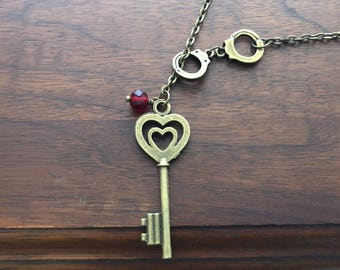 Key to my Heart Handcuffs Necklace, Handcuff Necklace, Heart Key Necklace, Bronze Heart Necklace, Handcuff Necklace