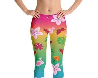 ca2f3675e352b Tropical Summer Printed Woman's Leggings // Capris Leggings // Unique Yoga  Leggings // Workout Pants // Exercise Pants