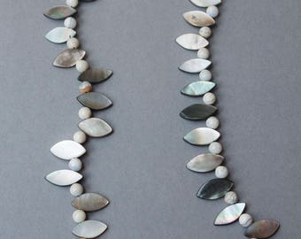 Black lip shell and semi-precious gemstone necklace, with 925 sterling silver clasp