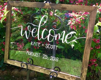 Wedding signs etsy welcome wedding sign acrylic welcome sign with wood frame clear wedding sign junglespirit Choice Image