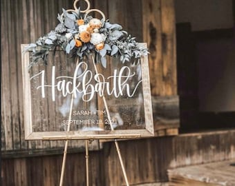 Acrylic Last Name Wedding Sign, Wedding Welcome Sign, Wooded Frame, Clear Wedding Sign, Personalized Wedding Sign