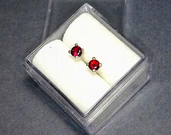 Girls 14K Yellow Gold 1.10 Carat 6mm Genuine January Garnet Circle Leverback Gem Earrings