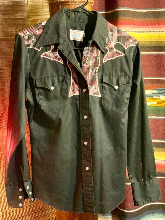 The Texas H Bar C HbarC Embroidered Western Shirt Rockabilly Cowboy Style with Pearl Snaps
