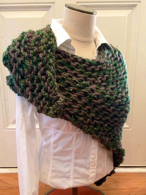 Hand stricken Wrap Winterschal klobige Strickschal Wolle | Etsy
