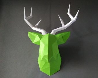 Deer Kit Do By Yourself DIY KIT Room Decor Paper Craft Wall Animal Head Origami