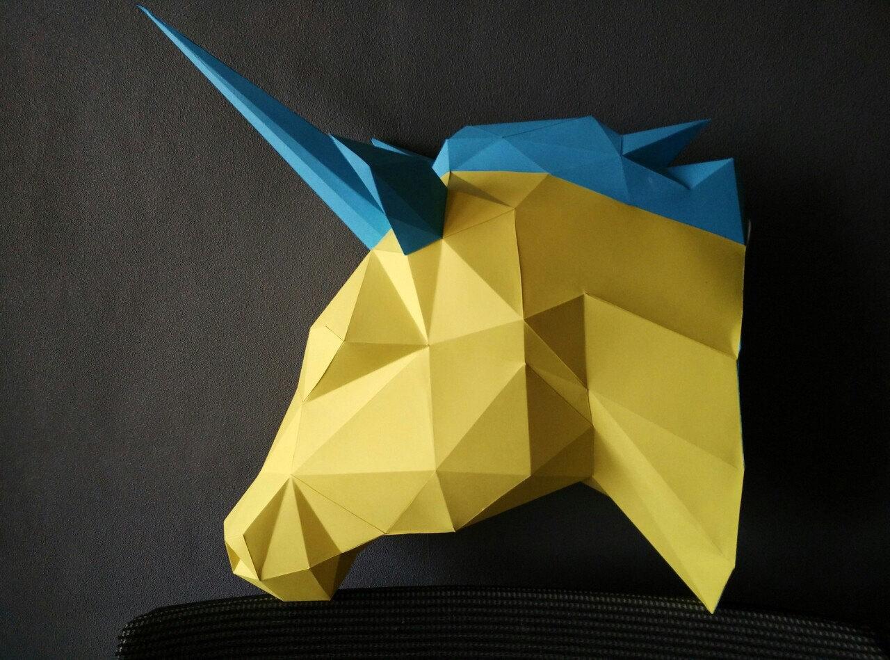 Magical model Unicorn/Papercraft Unicorn/Paper Trophy/Unicorn head ...
