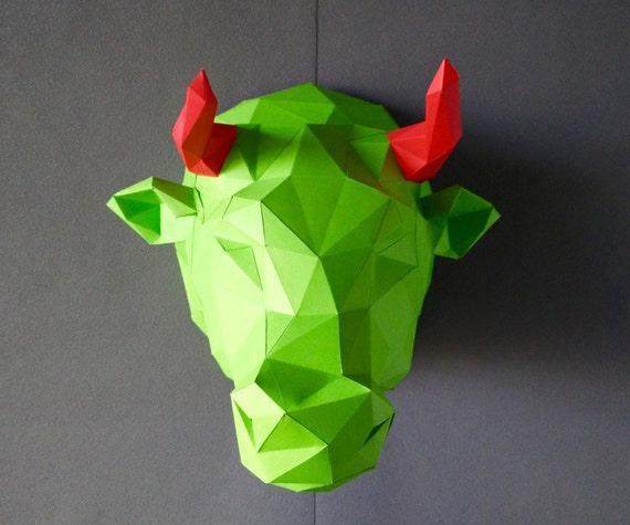 Bull kit do by yourself bull diy kit room decor paper craft bull kit do by yourself bull diy kit room decor paper craft wall decor paper animal head diy paper craft paper bull origami from yumegamishop on solutioingenieria Gallery