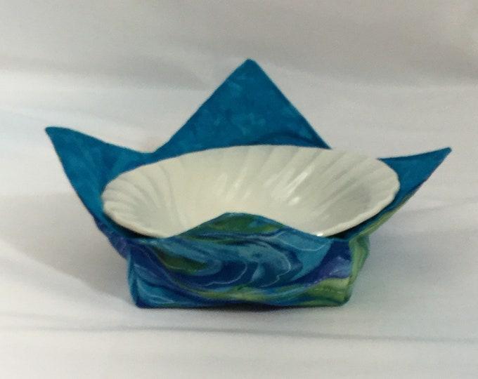 "Ocean Blue Microwave Bowl Cozy-Medium-6"" Bottom Diameter; Colorful Cozy; Leftover Bowl Pad; Hot Bowl Pad; Wrap & Zap; Reversible-IPFG-000171"