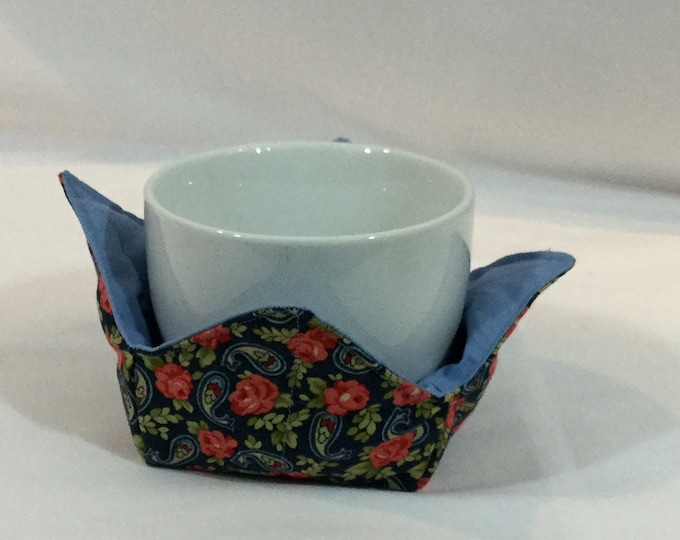 """Red Roses and Paisley Microwave Bowl Cozies-Small 4"""" Bottom Diameters, Coffee Mug Size; Small Ice Cream Bowl, FREE SHIPPING-IPFG-000338"""