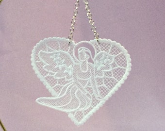 February Valentine Angel Lace Ornament; Free Standing Lace; Thread Created Angel;  Christmas Card Insert Gift; Gift for Mom - IPFG-000315