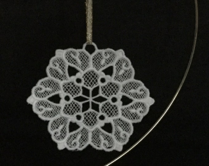 Star Snowflake Ornament; Lace, Free Standing Lace Star Snowflake Ornament; Christmas Card Insert Gift; Star Ornament - IPFG-000285